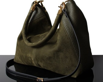 d14a72d41c Provence Leather green bag Suede olive bag cross-body bags made in France suede  hobo bags leather shoulder bags Paris green suede olive rare