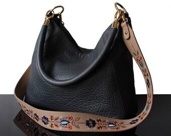 Grey Embroidered bag, leather Grey bag, Luxury bag, hobo grey bag, Grey hobo bag, grey bags, tote bag, grey leather bag, embroidery strap