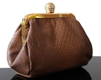 Evening bag, luxury leather bag, brown leather bag, purse bag, purse brown bag, fashion bag, leather purse bag