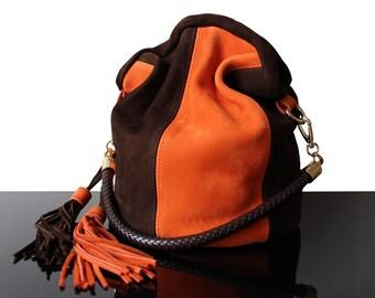 Bucket orange bag, bucket art bag, bucket suede bag, suede orange bag, original bags, leather suede bag, Boheme bag, suede bags, bucket bag