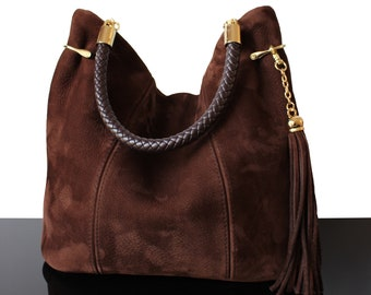 Bucket brown bag, suede bag, suede brown bag, hobo bag, brown hobo bag, fringes brown bag, luxury bag, gift, mother's day, brown bag