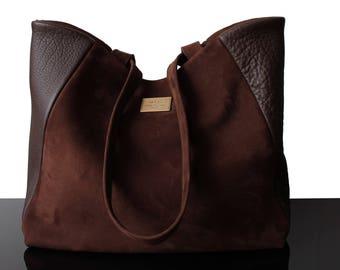 Tote bag, leather tote bag, big bag, leather brown bag, suede brown bag, Suede tote bag, luxury bag, leather suede bag, woman suede bag
