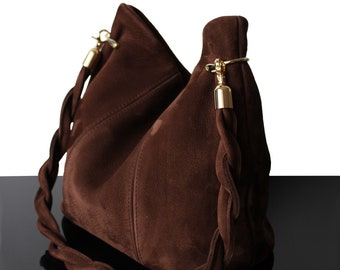 Hobo suede bag, Brown suede bag, suede bag, suede brown bag, luxury bag, suede bags, bucket suede bag, bucket leather bags, brown bags