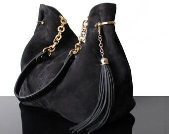 Bucket Black bag, Hobo black bag, Luxury bag, Black leather bag, Leather bag, Leather and suede bucket bag, fringes bag, suede bag, Boheme
