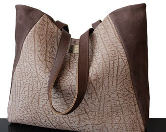 Brown leather bag, brown suede bag, tote leather bag, suede bag brown, tote bag, luxury bag