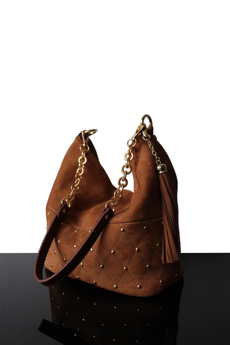 49599cff24 Bucket Camel bag Studded bucket leather bag suede handbags