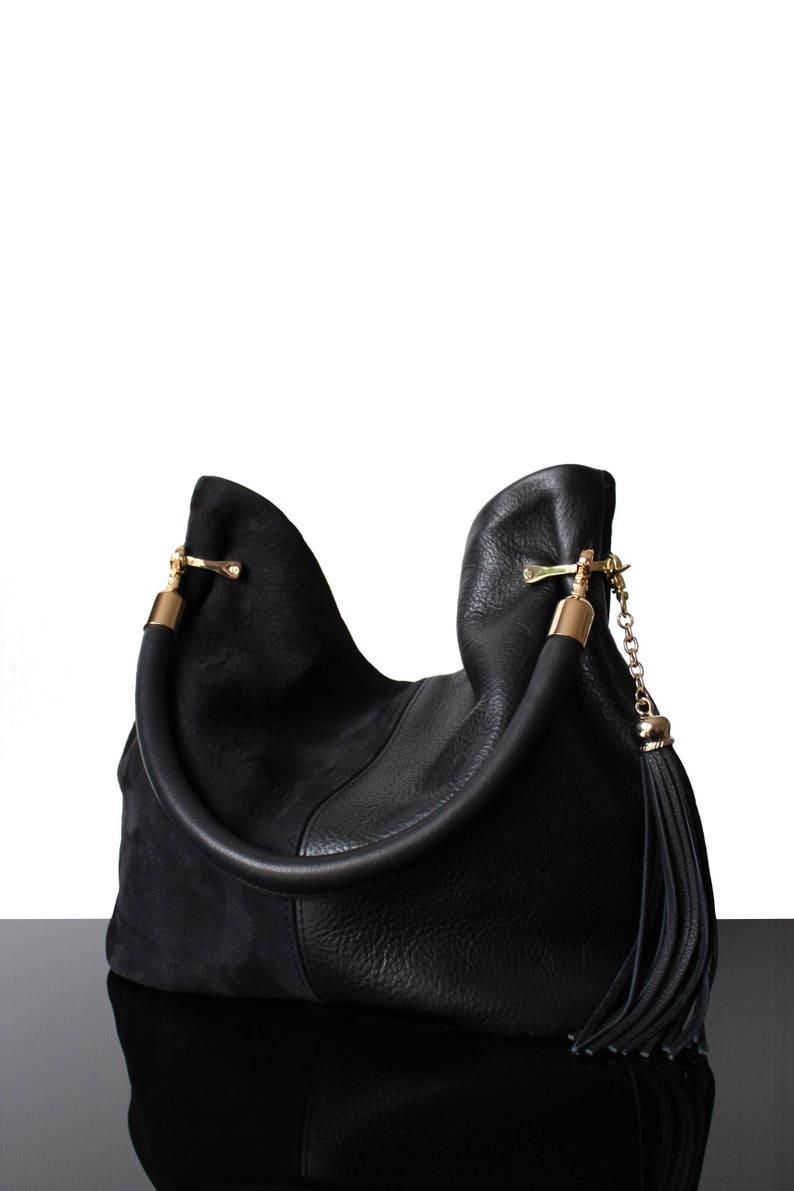 super mignon db28b 38c39 Sac cuir noir fringes sac daim noir hobo sac à main sac noir en cuir Pony  sac artisanal luxury sac tendance 2019 sac noir made in France