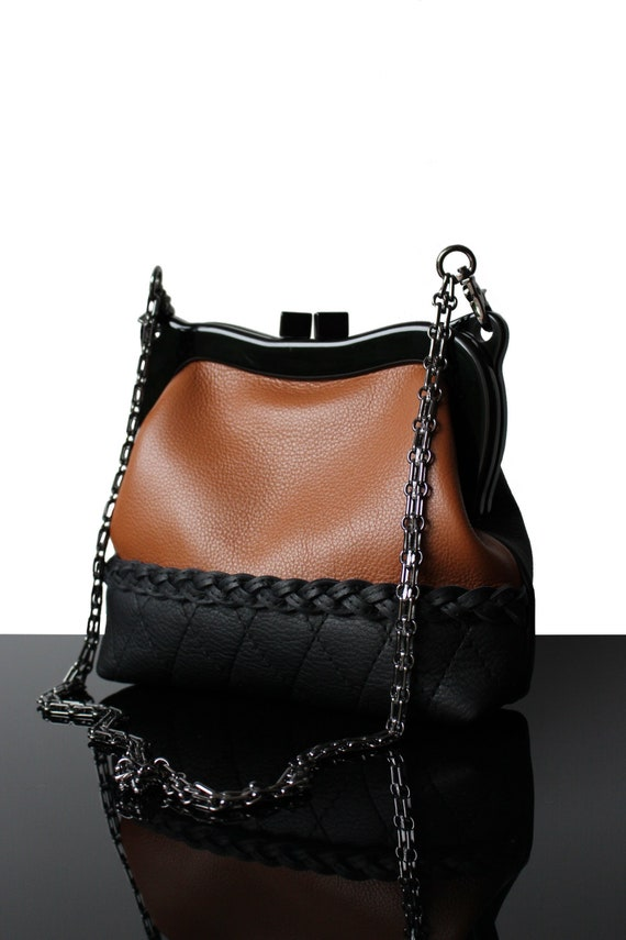 save off dirt cheap search for clearance Leather purse Kiss-lock bag black leather bag designer clutch