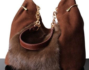 Fur bag, Luxury fur bag, Mink brown bag, Brown mink bag, Mink bag, Bag Vison