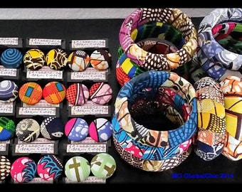 Ankara Candy ™©  WHOLESALE Half Dozen Button Earrings and Matching Bracelets with Free US Domestic Shipping
