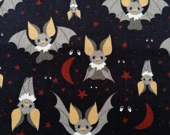 Cotton fabric - grey bat (0,5 meter)