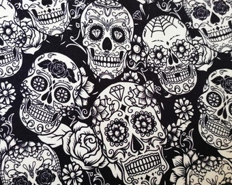 Jersey/French Terry - mexican Skulls (0,5m)