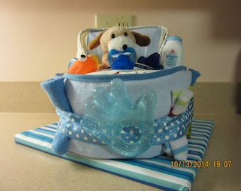 Puppy/Doggie Bath Time Bassinet Diaper Cake