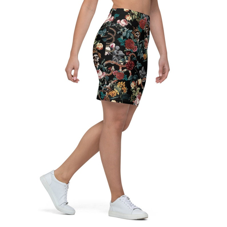 Skater Skirt All Over Printed Dark Floral Pencil Skirt Womens Gothic Style Womens Stretch Fit Skirt