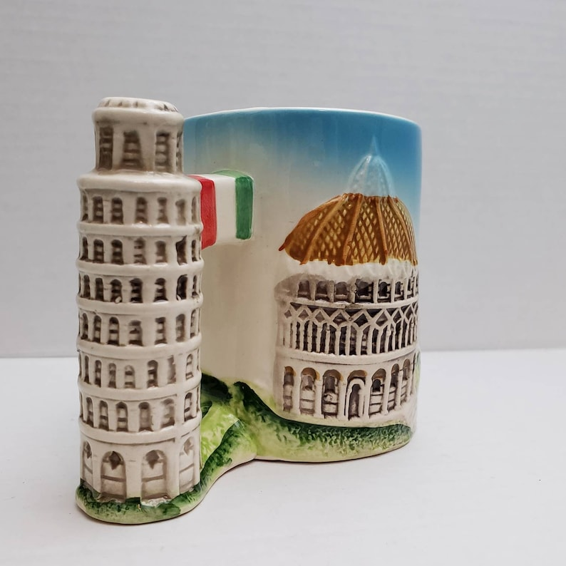 Italy Pisa Souvenir Mug Dimensional decoration Blue brown Leaning Tower of Pisa coffee cup great Travel gift mug