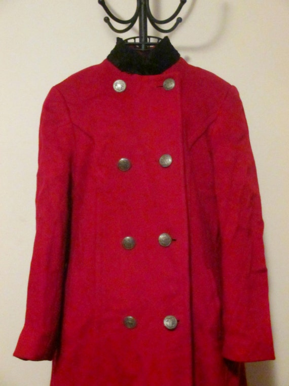 Vintage Red Oleg Cassini Overcoat Size M
