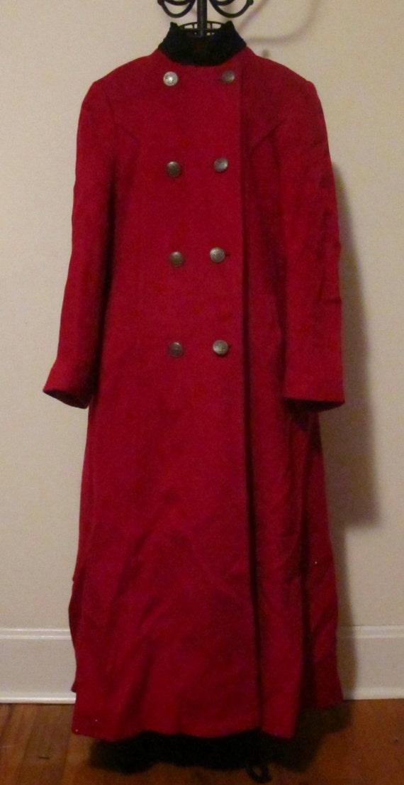 Vintage Red Oleg Cassini Overcoat Size M - image 3