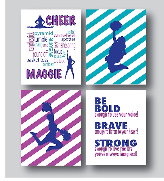 Set Of 4 Prints Cheer Gifts Cheer Gift Ideas Cheer Gifts For Seniors Cheer Gifts For Girls Cheerleading Gifts You Pick Colors