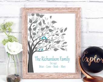 Personalized Family Tree Wall Art, 1 Year Anniversary Gift For Him, 10 Year Anniversary Gifts For Men, 10th Anniversary Gift For Her, Print