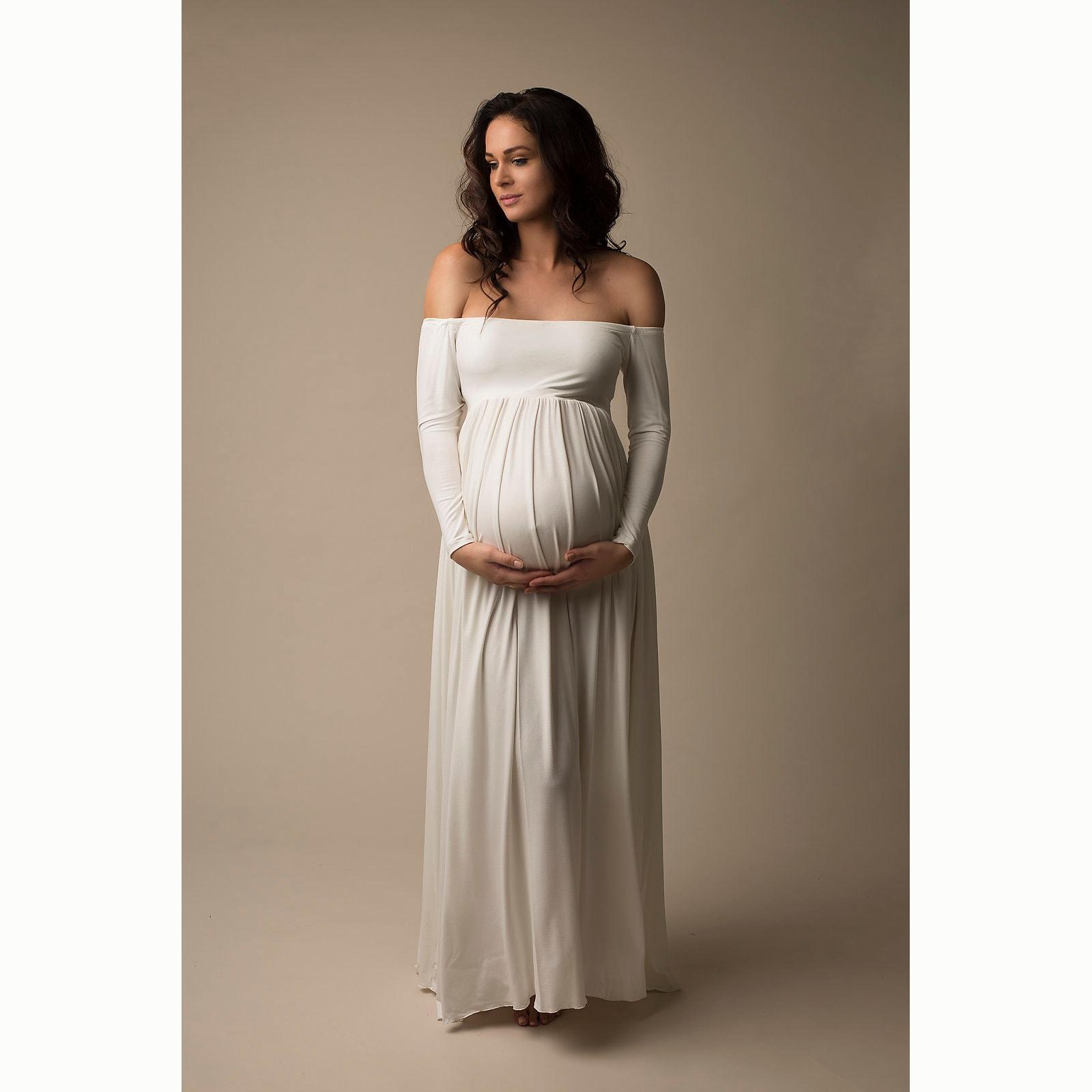 e5b617ce2928 Boronia Babyshower Dress / Off shoulder long sleeves / Maxi   Etsy