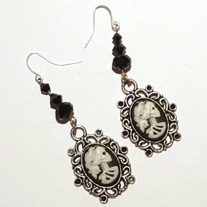 Lolita cameo earrings skeleton cameo earrings cameo earrings day of dead earrings Gothic steampunk earrings Halloween earrings