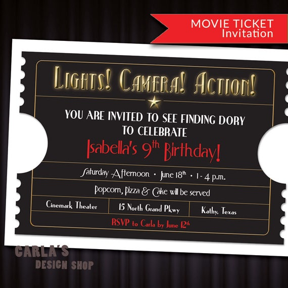 Lights Camera Action Movie Ticket Printable Invitation With Etsy