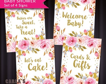 Baby Girl Shower Signs Instant Download   JPG & PDF   Floral and Dot Design with Gold Glitter Effect   Baby Girl Party Table Signs