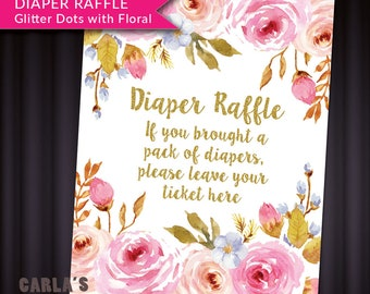 Diaper Raffle Tickets and Sign Instant Download   JPG & PDF   Floral and Dot Design with Gold Glitter Effect   Baby Girl Shower