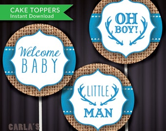 """Oh Boy! Welcome Baby and Little Man Antler Design with Burlap Background   Cupcake Toppers or Stickers 2"""" Circle   Printable PDF & JPG Files"""
