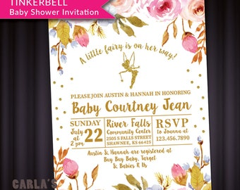 Fairy and Floral Theme Baby Shower Invitation with Tinkerbell   PRINTABLE with Glitter Effect   JPG or PDF File   Baby Girl