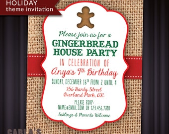 Christmas and Holiday Invitation with Gingerbread and Red + Green Theme   PRINTABLE with Burlap and Red Ribbon Background   JPG or PDF File