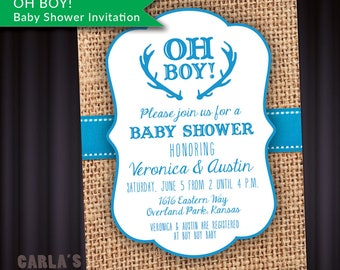 Oh Boy Baby Shower Invitation with Antlers and Ribbon Theme   PRINTABLE with Burlap Background   JPG or PDF File   Baby Boy