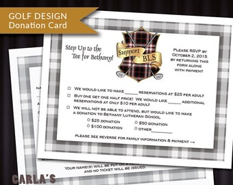 PRINTABLE RSVP or Donation Card for Auction and Fundraisers   Golf with Crest/Shield Design & Plaid Border   DIY Response Card