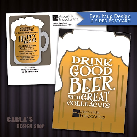 Beer Mug Postcard Design Customer Appreciation Happy Hour Etsy