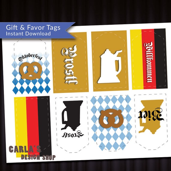 Prost Oktoberfest Willkommen Tags Instant Download Jpg Or Pdf German Inspired Designs With Flag And Bavarian Check With Pretzel