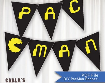 Pac Man Banner with Arcade Theme   Includes Ghosts, Fruit, Pac Man and Mrs. Pac Man!   All Alphabet & Numbers   Spell whatever you want!