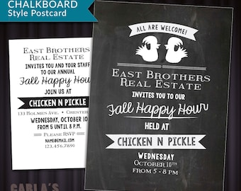 Chalkboard Style Postcard with Chicken Design   Customer Appreciation, Happy Hour or Office Get Together PRINTABLE Invitation Email Graphic