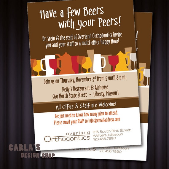 Have A Few Beers With Your Peers Happy Hour PRINTABLE PDF Or Etsy
