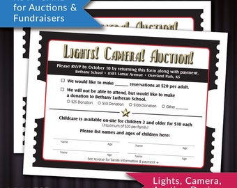 PRINTABLE RSVP or Donation Card for Auctions and Fundraisers   Lights, Camera, Auction Design! Movie Ticket Theme    DIY Response Card