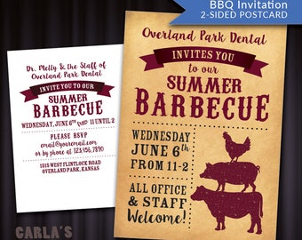 Barbeque Style Western Postcard with Parchment Background   Cow, Pig & Chicken Design   PRINTABLE Invitation for Your Company Get-Together