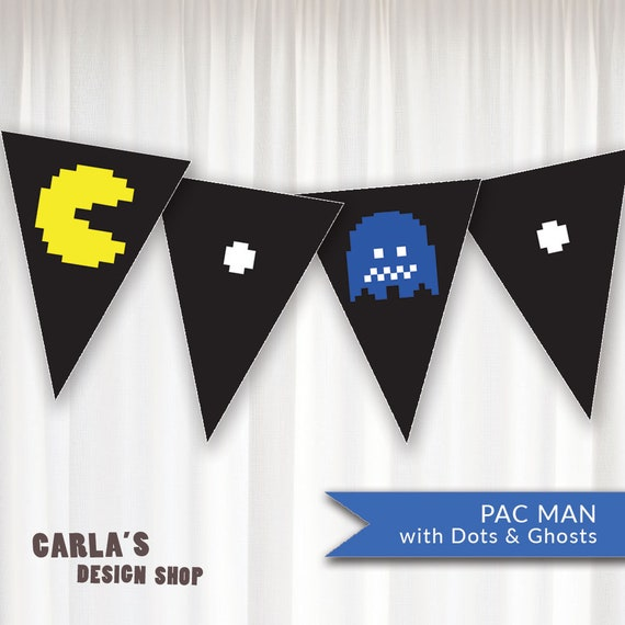 Pac Man Banner with Arcade Theme Includes Ghosts Fruit Pac | Etsy