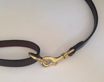 English Bridle Leather Dog Lead with loop