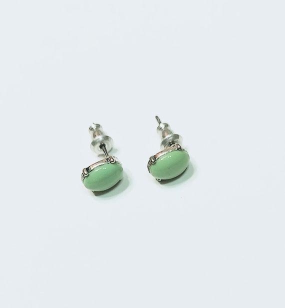 Monet Green Stud Earrings, Minimalist Monet Earri… - image 1