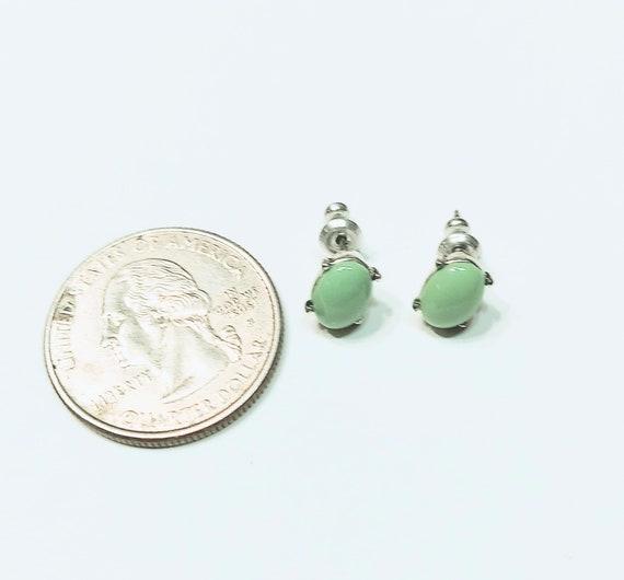 Monet Green Stud Earrings, Minimalist Monet Earri… - image 3