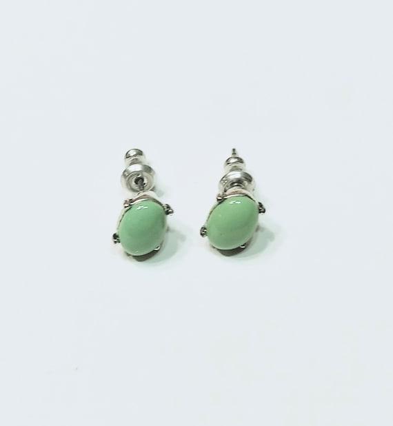 Monet Green Stud Earrings, Minimalist Monet Earri… - image 2