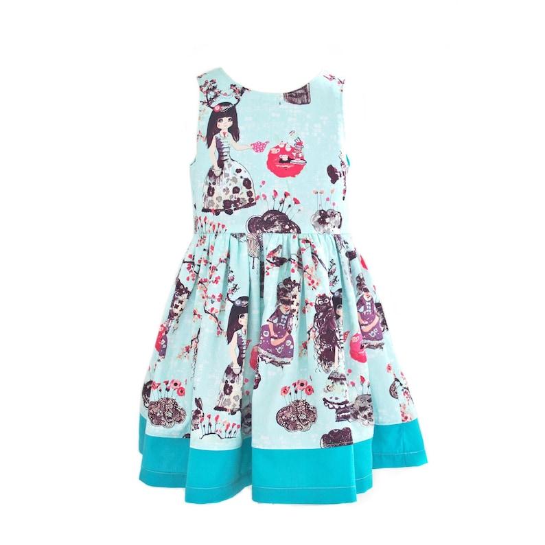 12f141d02fea5 Handmade girls dress, age 4, party dress, girls summer dress, japanese  print, cherry blossom, teal, light blue, perfect event dress, made uk