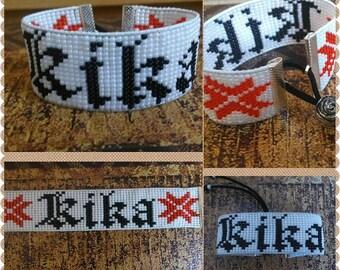 personalised handmade /loom beaded braselet/wristband