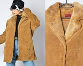 Vintage 90s Camel Brown Warm Leather Winter Faux Fur Coat Womens Size Small