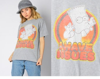 3c65551661a3a Y2K Vintage Gray Graphic Bart Simpson Anime T-Shirt Womens Tee Size Small