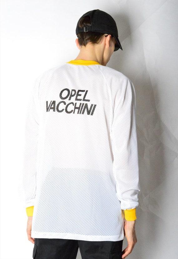 Opel des taille années 90 blanc jaune sport chemise taille des M 2e175f